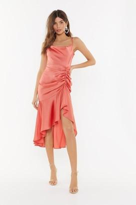 Nasty Gal Womens Slick City Gal Satin Midi Dress - Coral