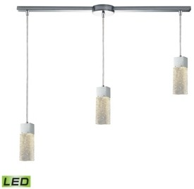 Elk Lighting Cubic Ice 1 Light Pendant in Polished Chrome with Solid Textured Glass