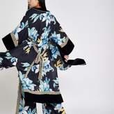 River Island Womens Navy floral print satin kimono