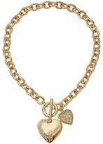 GUESS Logo Heart Charm Toggle Necklace