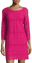Laundry by Shelli Segal 3/4 Sleeve Mesh Dress, Vivid Pink