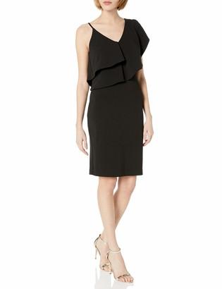 Bebe Women's Solid Crepe Midi Dress with Asymmetrical Ruffle Top