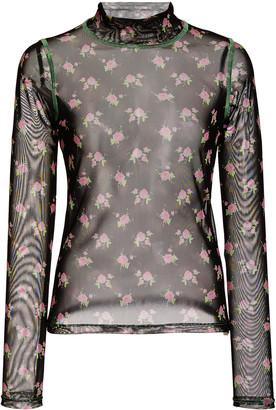 Sandy Liang Promise Floral-Print Mesh Turtleneck Top
