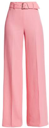 Akris Floriane High-Waist Belted Wide-Leg Pants