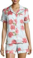 BedHead Rose-Print Shorty Pajama Set, Light Blue, Plus Size
