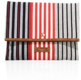 Sonia Rykiel Striped Canvas Foldover Clutch