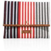 Sonia Rykiel Striped Canvas Foldover Clutch