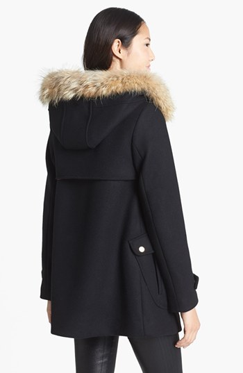 Trina Turk 'Elizabeth' Genuine Coyote Fur Trim Duffle Coat