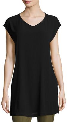 Eileen Fisher Petite V-Neck Silk Georgette Crepe Tunic w/ Pockets
