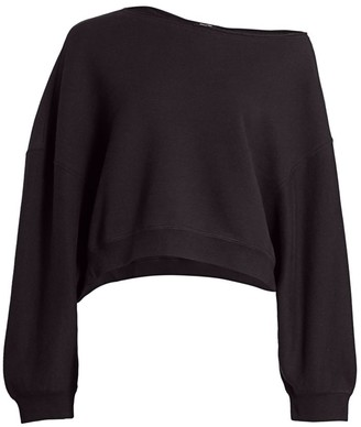 R 13 Patti Asymmetric Puff-Sleeve Off-the-Shoulder Sweatshirt