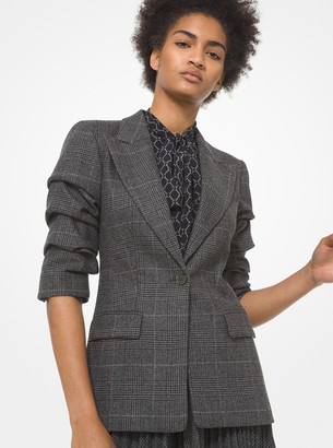 Michael Kors Collection Glen Plaid Wool Blend Flannel Crushed-Sleeve Blazer