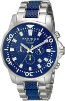 Akribos XXIV Men's AK561BU Conqueror and Silver Stainless Steel Divers Chronograph Watch
