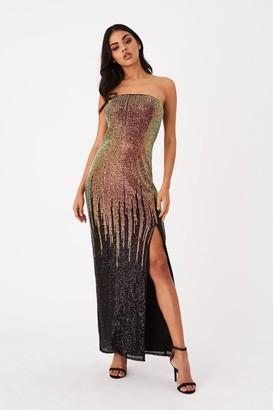 Little Mistress Roka Gold Sequin Ombre Bandeau Maxi Dress