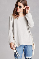 Forever 21 FOREVER 21+ Lace-Up Boxy Sweatshirt