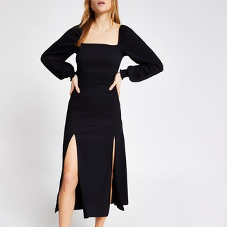 River Island Womens Black long sleeve shirred waist midi dress