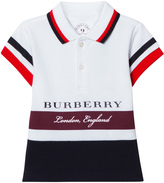 Burberry White and Burgundy Stripe Branded Polo