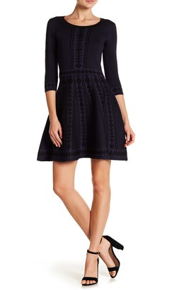 Nina Leonard Geometric Print 3/4 Sleeve Fit & Flare Dress