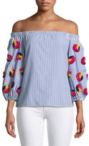 Tanya Taylor Michele Striped Off-the-Shoulder Embroidered Top