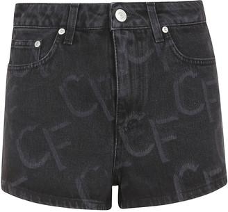 Chiara Ferragni Monogram Denim Black Shorts
