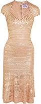 Herve Leger Metallic Bandage And Pointelle-knit Dress - Pink