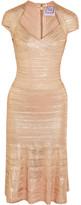Herve Leger Metallic Bandage And Pointelle-knit Dress - Pink