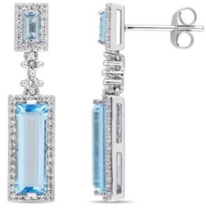 Macy's Baguette Cut Blue Topaz (4-1/5 ct. t.w.) and Diamond (1/3 ct. t.w.) Drop Earrings in 14k White Gold