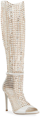 Rene Caovilla Galaxia 105mm Jeweled Open-Toe Knee Boots