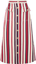 Gucci Striped Denim Midi Skirt - Red
