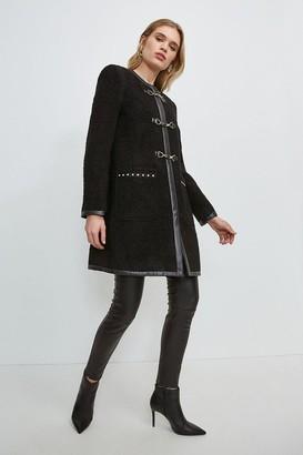 Karen Millen Boucle Stud Trim Coat