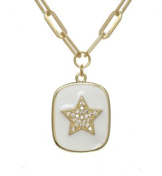 Rachel Reinhardt 14K Over Silver Cz White Enamel Star Necklace
