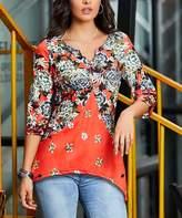 Reborn Collection Women's Tunics Orange - Orange Floral Contrast V-Neck Top - Women & Plus