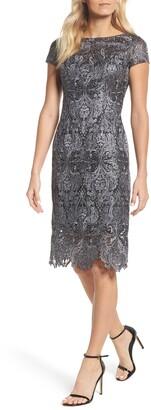 La Femme Lace Bateau Neck Dress