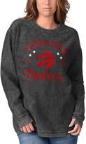 G Iii Women's G-III Sports by Carl Banks Black Toronto Raptors Slouchy Comfy Cord Crewneck Pullover Sweatshirt