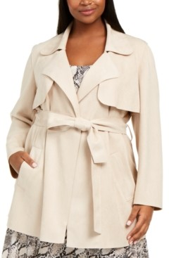 Bar III Plus Size Faux-Suede Belted Jacket, Created for Macy's