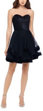 Blondie Nites Juniors' Velvet-Hem Strapless Dress