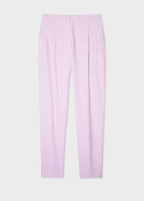 Paul Smith Women's Lilac Cotton-Blend Pleated Pants