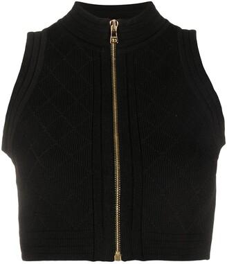 Balmain Zip-Up Ribbed-Knit Top