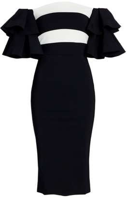 Chiara Boni Parvati Off-The-Shoulder Ruffle Bodycon Dress