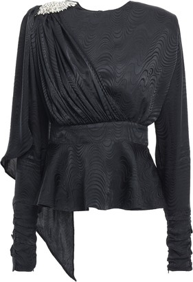 Dodo Bar Or Grace Crystal-embellished Draped Silk-jacquard Peplum Top
