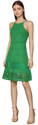 BCBGMAXAZRIA Knit Fit-and-Flare Dress (Vibrant Green) Women's Clothing