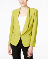 Tahari ASL Open-Front Zip-Pocket Blazer