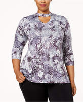 Style&Co. Style & Co Plus Size Printed Choker Tunic, Created for Macy's