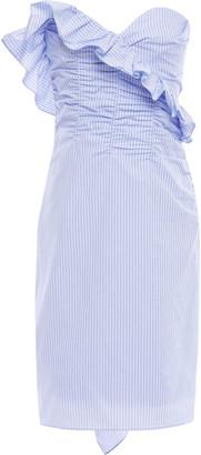 ALEXACHUNG Strapless Ruffled Pinstriped Cotton-poplin Dress
