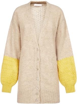 See by Chloe Color-block Alpaca And Wool Blend Cardigan