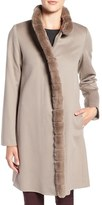 Fleurette Women's Wool Coat With Genuine Rex Rabbit Trim
