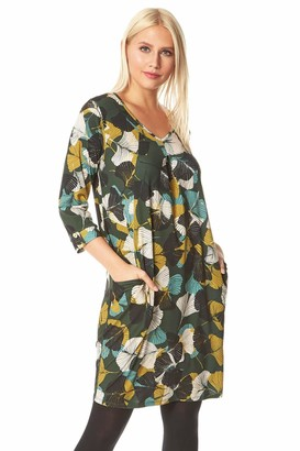 Roman Originals Women Leaf Print 3/4 Sleeve Slouch Dress - Ladies Everyday Casual Daywear Comfortable Laidback Versitile Oversized Work Loose Knee Length Slouch Dress - Green - Size 14