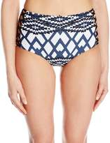 Seafolly Women's Modern Tribe High Waisted Lattice Pant Bikini Bottom