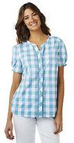 Denim & Co. Short Sleeve V-neck Plaid Woven Shirt