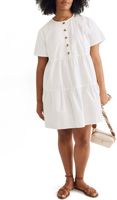 Madewell Button Front Short Sleeve Tiered Minidress