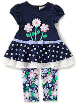 Rare Editions Baby Girls 12-24 Months Flower-Appliqued Dress and Flower-Printed Leggings Set